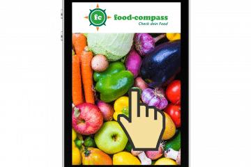 Smartphone mit Lebensmittel aus dem Online Supermarkt
