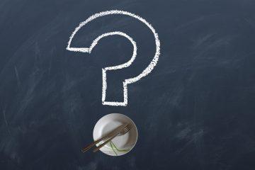 Häufige Fragen zum Thema Lebensmittel in einem Fragezeichen dargestellt.